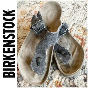 Birkenstock Gizeh Black Canvas Sandals